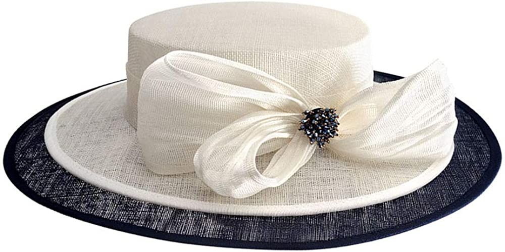 F FADVES Lady Cream Weeding Church Hats Elegant for Occasion Event Party Race Derby