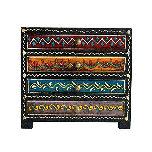 Jaipur handicrafts hub Madera maciza grande incluye cajonera 4cajones con metal Soportes...