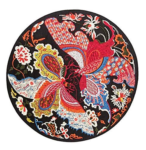 Lilie Créa Grand Patch brodé Fleurs Oiseau, Papillon, écusson thermocollant à Motifs Floraux 23,5 cm