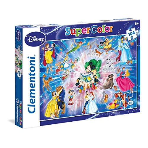 Clementoni- Disney Family Supercolor Puzzle Maxi, 104 Pezzi, 27954