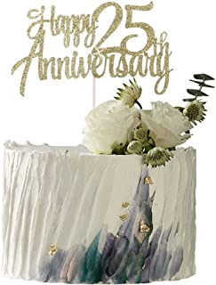 YUINYO Happy Anniversary Party Decoration Gold Glitter Happy Anniversary Cake Topper - Anniversary Party (25 Anniversary)