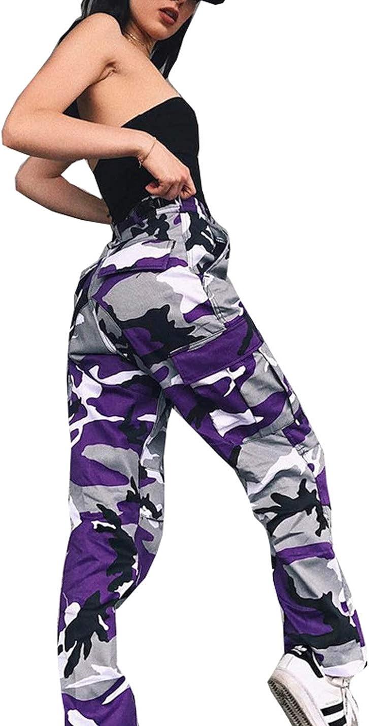 Women Casual Camo Jogger Cargo Hip Hop Rock Pants Multiple Pockets Cargo Trousers