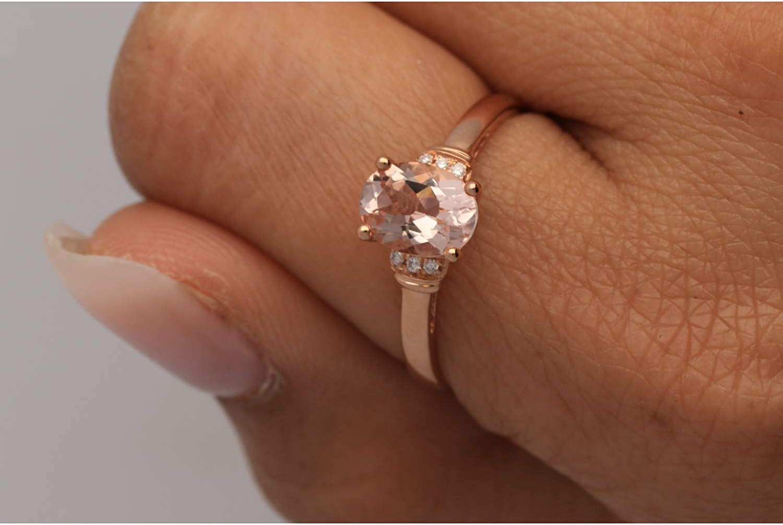 Gin & Grace 10K Rose Gold Natural Morganite & Diamond (I1,I2) Statement Cocktail Ring for Women