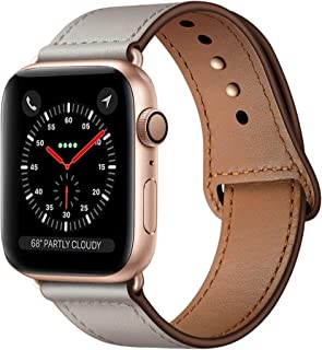 KYISGOS Compatible with iWatch Band 40mm 38mm 44mm 42mm, Genuine Leather Replacement Band Strap Compatible with Apple Watc...