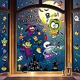 RITOSTA Halloween Fenêtre Autocollants Vitrine Autocollants Citrouille Chat Chauve-Souris Château Fantôme Windows Stickers de Décoration pour Halloween (A, Taille unique)