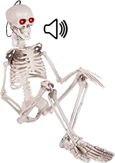 3FT Halloween Hanging Posable Skeleton – Large Life-size Halloween Prop Skull with..