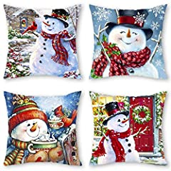 Package includes: Set of 4 throw pillow cover, Vivid snowman pattern, with exquisite printing technology, pillow insert is not included. Dimensions: 18x18 inches (45x45cm), due to manual measurement and cutting, please allow 1-2cm error. Material: Th...