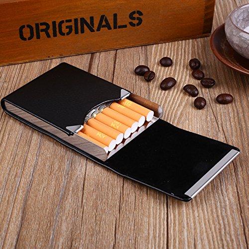 Tiptiper Caja de cigarrillos, caja de cigarros de cuero de la PU Caja de cigarrillos de cigarrillos de metal clásico regalo para fumar (negro)