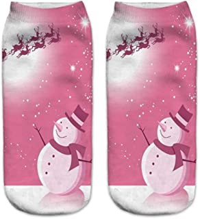 Calcetines Tobilleros 3D Mujeres 3D Printin Calcetines De Navidad Unisex Cartoon Elk Snowman Santa Calcetines Mujeres Low Cut Tobillo Calcetines De Navidad