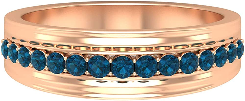 Latest Statement Wedding Anniversary Ring, Unique 1/2 CT Certified Blue Topaz London Wide Band Ring for Him, Classic Mens Solid Gold Wedding Band Ring, 14K Gold