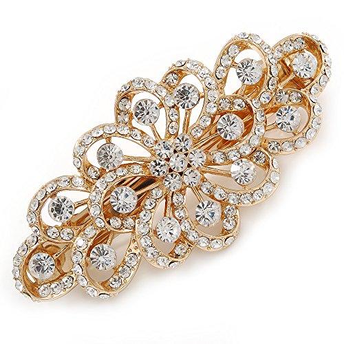 Fermacapelli da sposa o da ballo con filigrana sui toni dell'oro e strass floreali, lunghezza: 8 cm