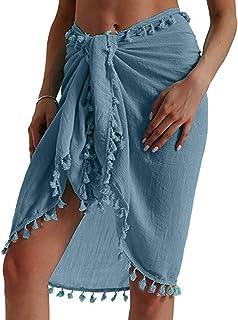Women Beach Cover-Ups Wrap Kaftan Sarong,Ladies Tassels Sunscreen Shawl Bikini Cover up Summer High Waisted Bohemian Skirt Dress Beachwear Coverup Skirt Sundress