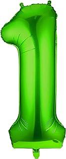 Siumir Numéro Ballon Numéro 1 Géant Vert Numéro Ballon Foil Helium Ballon Fête d'anniversaire Ans Anniversaire Décoration,...