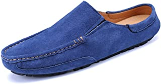 QinMei Zhou Men's Driving Penny Loafers Genuine Leather Casual Slippers Slip-On Boat Mules (Color : Blue, Size : 6 UK)