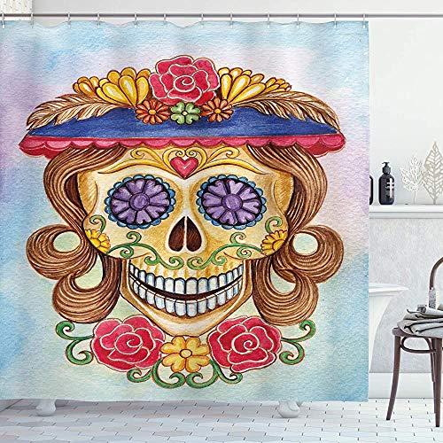ASDAH dag van de dode douchegordijn dame mama schedel hoofd met bloem hoed Spaanse en Mexicaanse kunst Print doek stof badkamer Decor Set met haken blauw bruin 66 * 72in