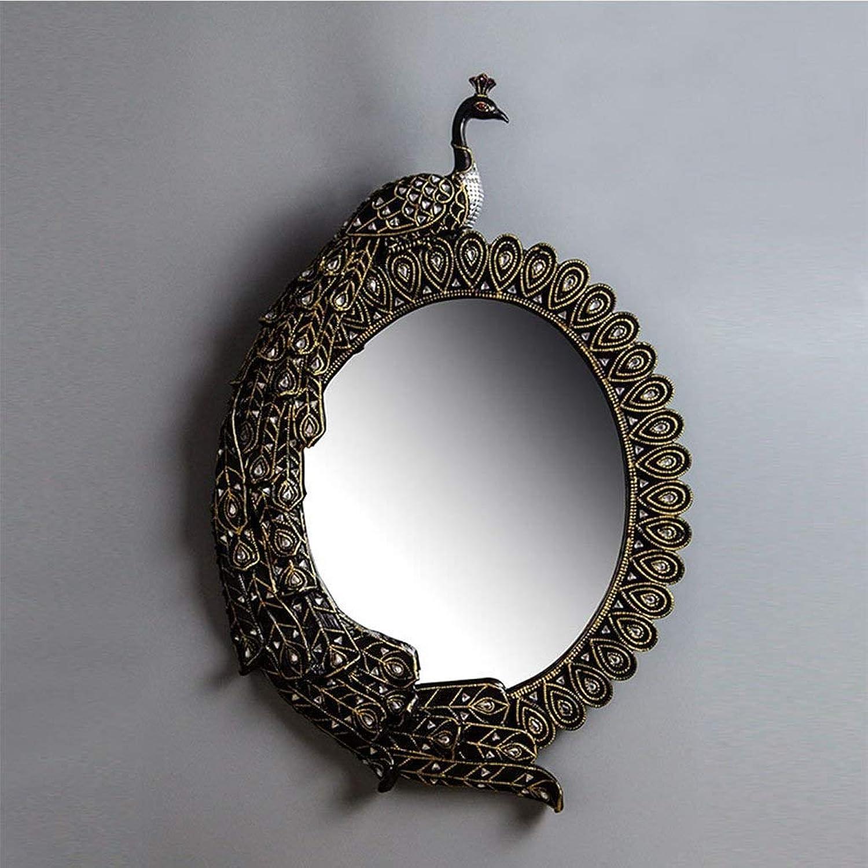 XIUXIU Mirror Home Peacock-Style Decorative Mirror Wall Hanging Bathroom Vanity Mirror Personality Round Makeup Mirror