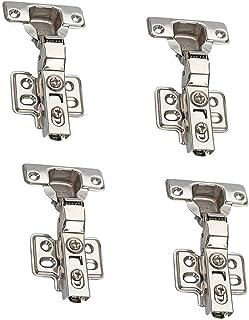 NUZAMAS 4 bisagras estándar de cierre suave para puertas de armarios de cocina, bisagra de puerta de armario de 90 grados, media capa - 2 pares