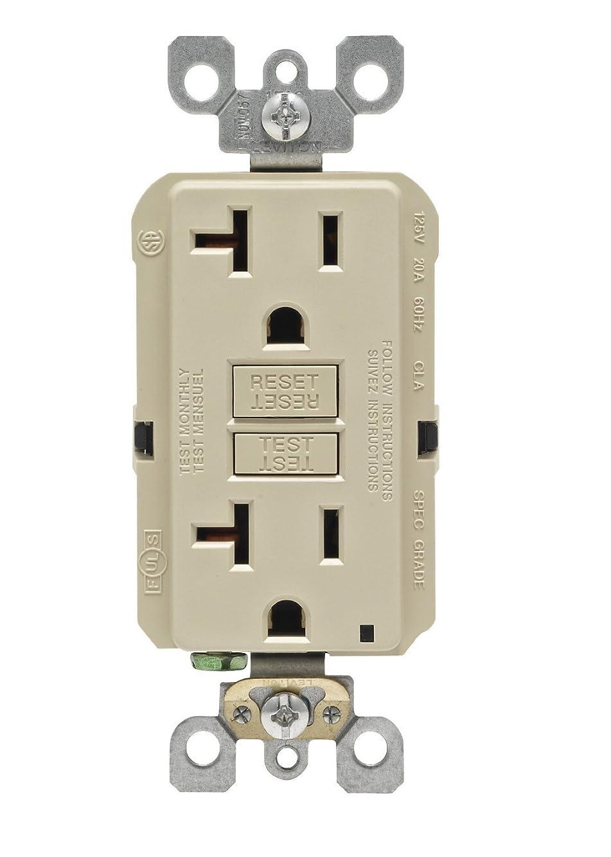 Leviton GFNT2-I Self-Test Smartlockpro Slim GFCI Non-Tamper-Resistant Receptacle with LED Indicator, 20-Amp, 10 Pack, Ivory