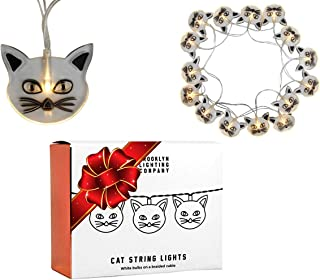 Brooklyn Lighting Company - 20 LED Cat String Lights, Battery Operated String Lights, Party Decor Supplies for Indoor, 8 Feet Long