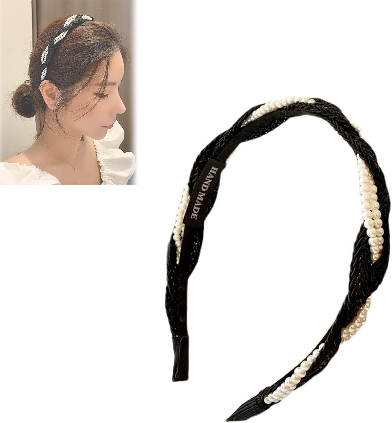 XFSSFWB Korean Style Elegant Braided Bangs Holder, Pearl Headbands for Women, Handmade Braided Hair Accessories for Women Girls (Color : Black)