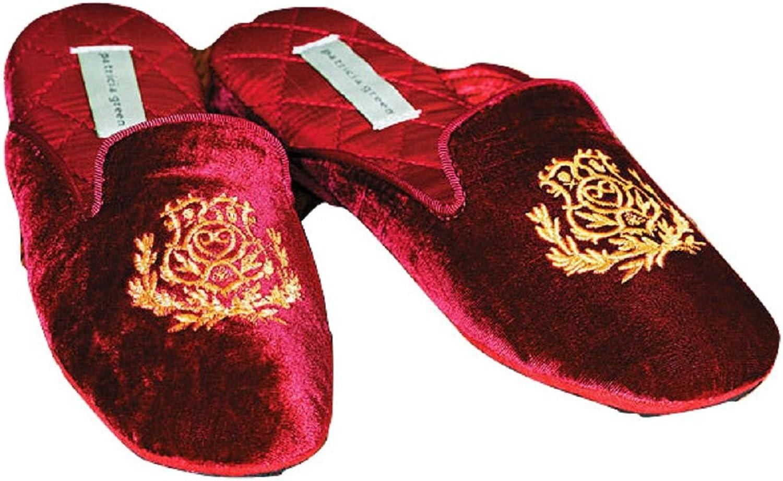Patricia Green Velvet Slippers Red