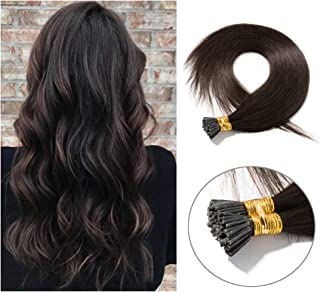 Pre bonded I Tip Human Hair Extension for Women Fusion Stick Tip Remy Human Hair Piece Invisible Keratin Glue in Hair Extensions Full Head 100 Strands 50 Gram 18Inch #02 Dark Brown