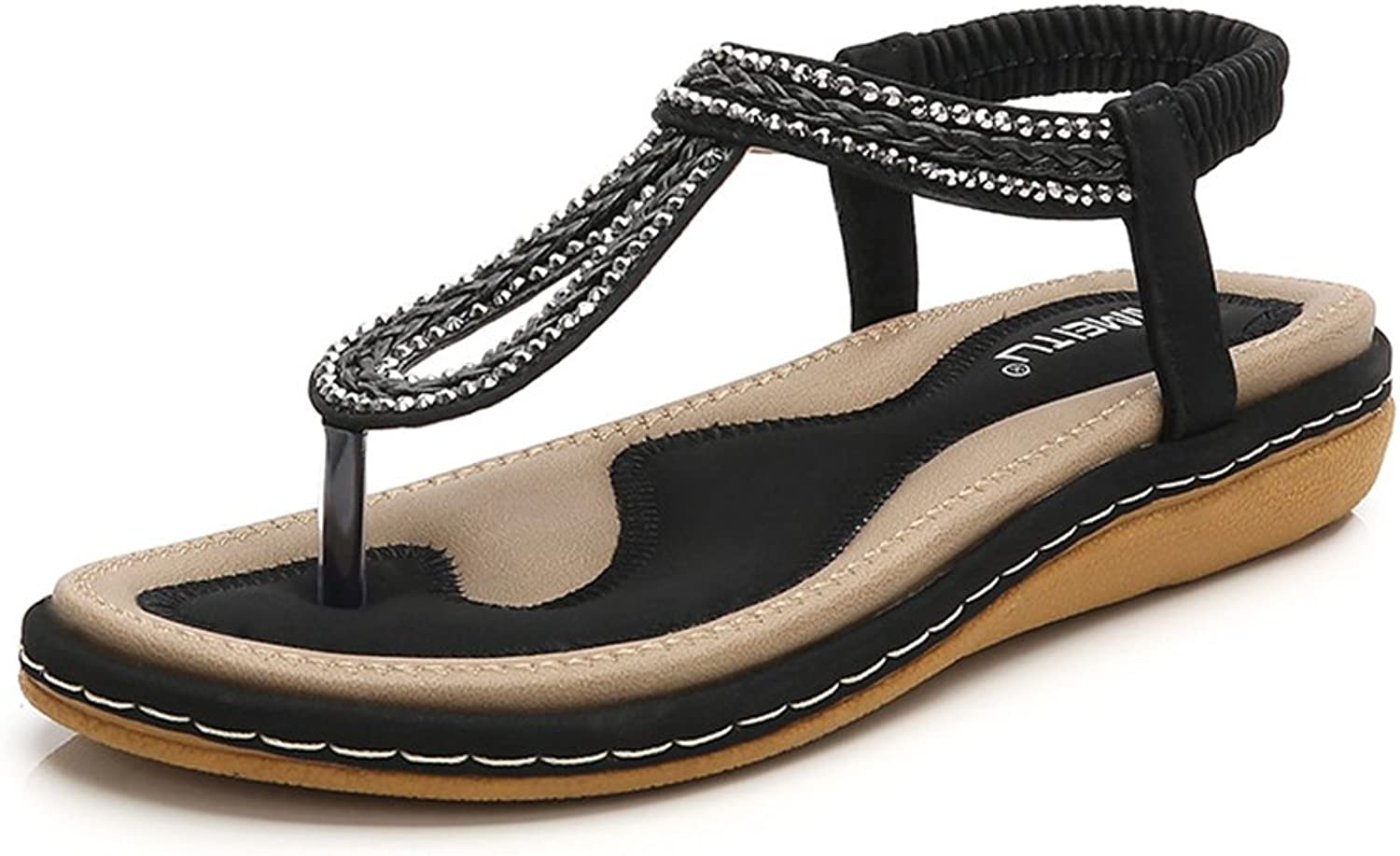 Baviue Women's Sandles Leather Casual Thong Sandals