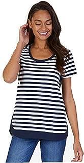 Nautica Women's Short Sleeve Striped Tee, Navy/White, L