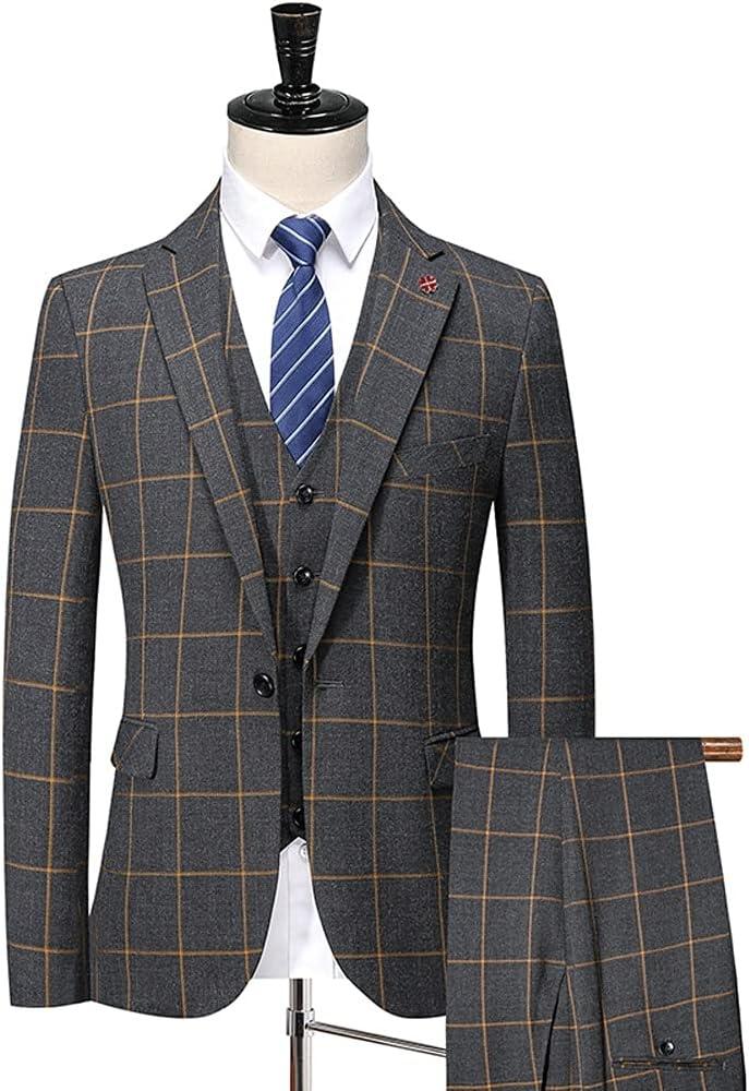 UXZDX CUJUX Spring Autumn Suits/Men's Casual Business Plaid 3 Piece Suit Jacket Coat Trousers (Color : Lattice, Size : S for 48-52kg)