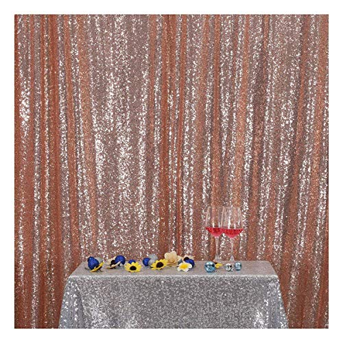 Poise3EHome 7FT x 7FT Sequin Photography Backdrop Curtain for Party Decoration, Rose Gold