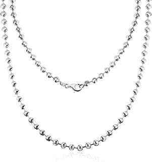 AINUOSHI Rhodium Plated Sterling Silver 2.5-5.0mm Solid 925 Italy Moon Cut Chain Necklace Italian Bead Ball Chain Necklace, Men & Women, 16-28 Inches