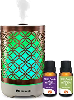 Essential Oils Starter Kit - Elegance Ultrasonic Diffuser, Aromatherapy Best Oil Diffuser, Essential Oils Diffuser Kits, Color Changing, Humidifier, Essential Oils Set, Auto Shutoff, GuruNanda