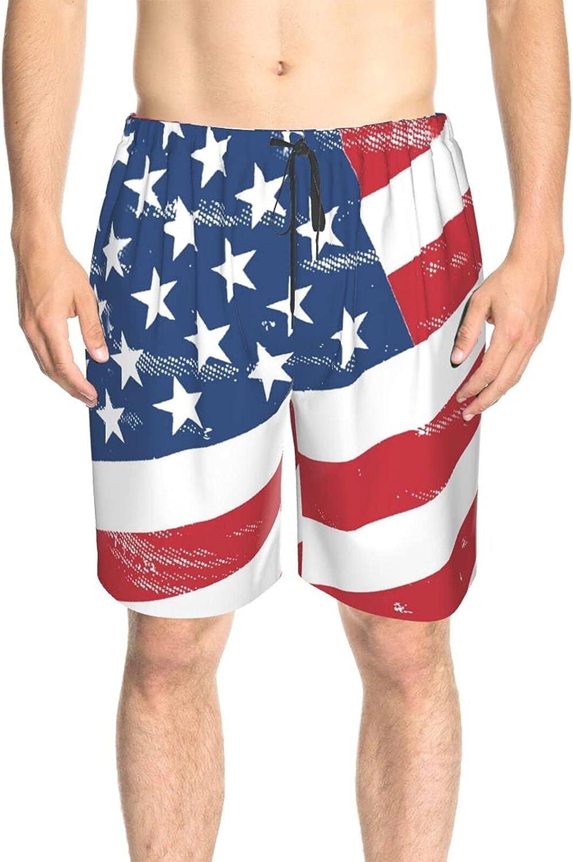 JINJUELS Men's Swim Trunks American Flag Star Swim Board Shorts Quick Dry Comfy Swimwear Beach Shorts with Liner