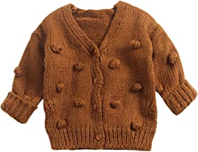 Willsa Baby Girl Clothes, Kids Girls Winter Cute Ball Sweater Jacket V Neck Knit Cardigan Tops