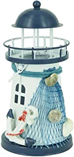 Attraction Design Metal Lighthouse Decor, 6''H Nautical Ocean Themed Rooms Lighthouse Home Decor with Anchor Seashell Conch & Fish Net (Lighthouse B)