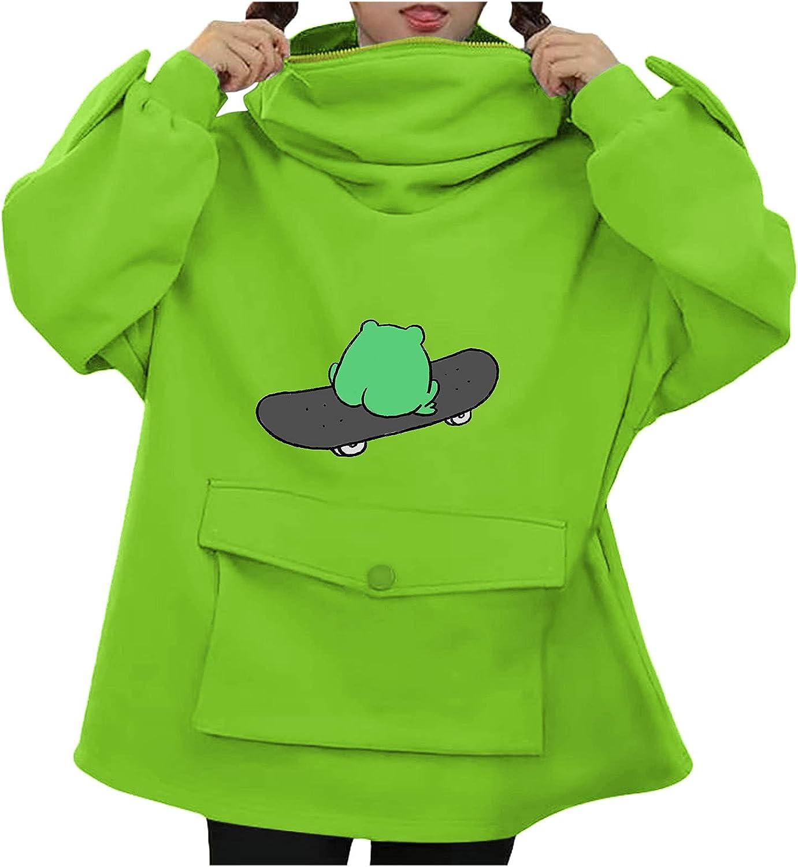 Hotkey Pullovers for Women, Women's Casual Zip Up Cute Frog Sweatshirts Tops Printed Hooded Active Hoodies
