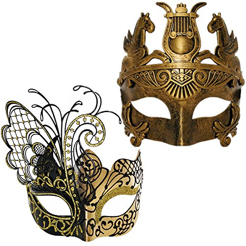 Gold/Black Butterfly Women Mask & Silver Roman Warrior Men Mask Venetian Couple Masks for Masquerade/Party/Ball Prom/Mardi Gras/Wedding/Wall Decoration(Elastic Band