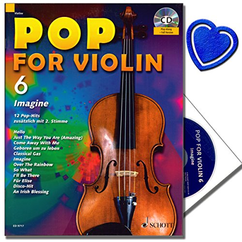 Pop voor Violon 6 met CD - Popmuziek voor schilderinstrumenten, viool en viool - CD titels in een volledige versie en een Play Along versie - met hartvormige muziekklem