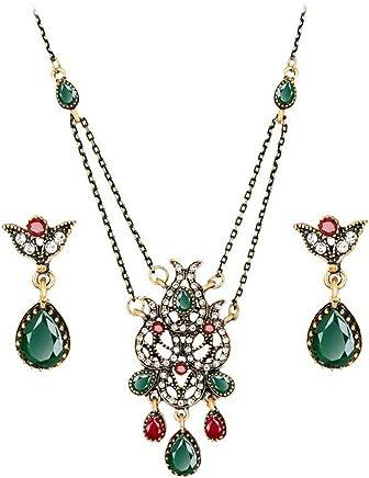 Bullidea Necklace Earrings Diamond Tulip Flower Elegant Women Jewellery Set of Crystal Pendant Necklace+Earrings