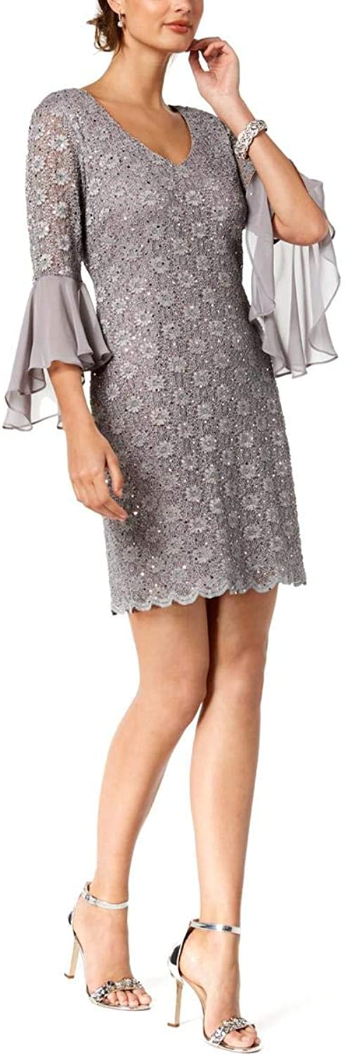 Connected Apparel Womens Mini Bell Sleeves Cocktail Dress
