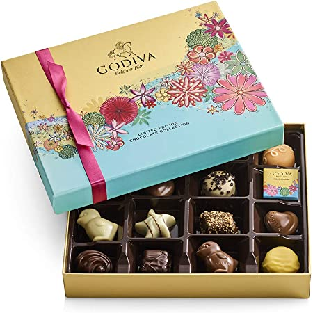 Godiva Chocolatier Spring Assorted Chocolate Gift Box, 16-Ct., Milk Chocolate, 6.9 Ounce