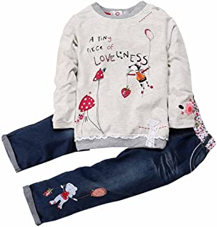 Thombase Kids Bomber Bow Jacket Hoodies Set Casual Sweatshirt with Long Pants for Girls
