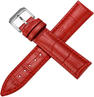 Leather Watch Band Blue 17mm Watch Strap Leather Band Watch Red 12 13 14 16 18 20 21 22mm Black Watch Leather Band White