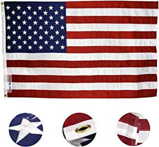 American Flag 3x5 Foot with Embroidered Stars,Premium US Flag for Outdoor and House,Brass Grommets and Sewn Stripes,Durable Waterproof Oxford Nylon Flag with Bright Color that Not Fade