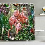 Cortina de ducha Flamingo versión 3d cortina de ducha de impresión digital impermeable y a prueba de humedad baño planta tropical familia cortina de ducha impermeable y a prueba de moho A1 180x180cm
