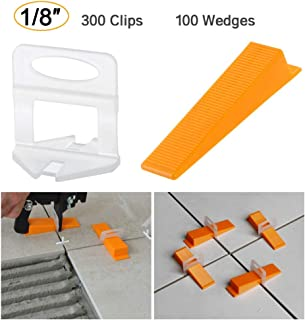 Tile Leveling System DIY Tiles Leveler Spacers 1/8 inch 300pcs Leveling Spacer Clips Plus 100pcs Reusable Wedges (Orange)