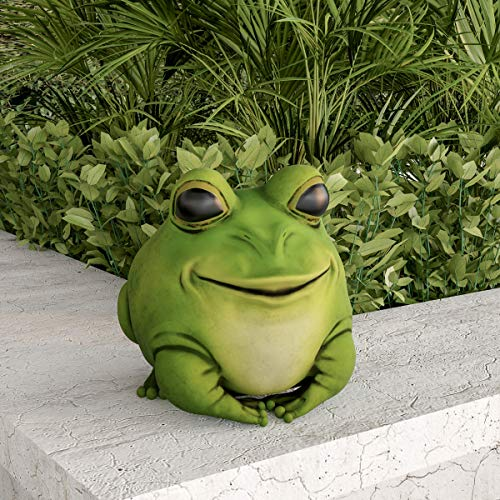 Pure Garden 50-LG1096 Frog Statue-Resin Chubby Animal Figurine for Outdoor Lawn Decor for Flower Beds  Fairy Gardens  Backyards and More
