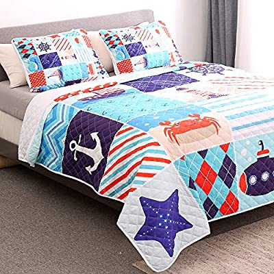 Amazon - Save 60%: WishColorful Nautical Quilt Set Queen Size,3 Piece Bedspreads Coverlet Ocea…