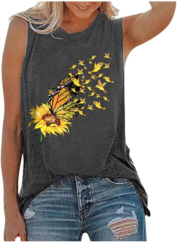 Graphic Tank Tops for Women,Womens Tank Tops Sleeveless Summer Shirts Round Neck Sunflower Cute Printed Tshirt Workout Blouse Casual Tunic Tee