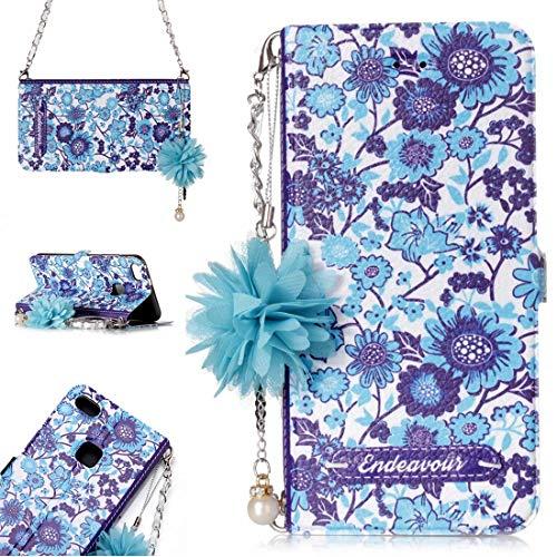 para Cajas de Cuero. DJM para Huawei P10 Lite Daisy Flower Poder Horizontal Funda de Cuero con Soporte y Ranuras para Tarjetas y Adornos y Cadenas de la Flor de la Perla (Color : Color6)